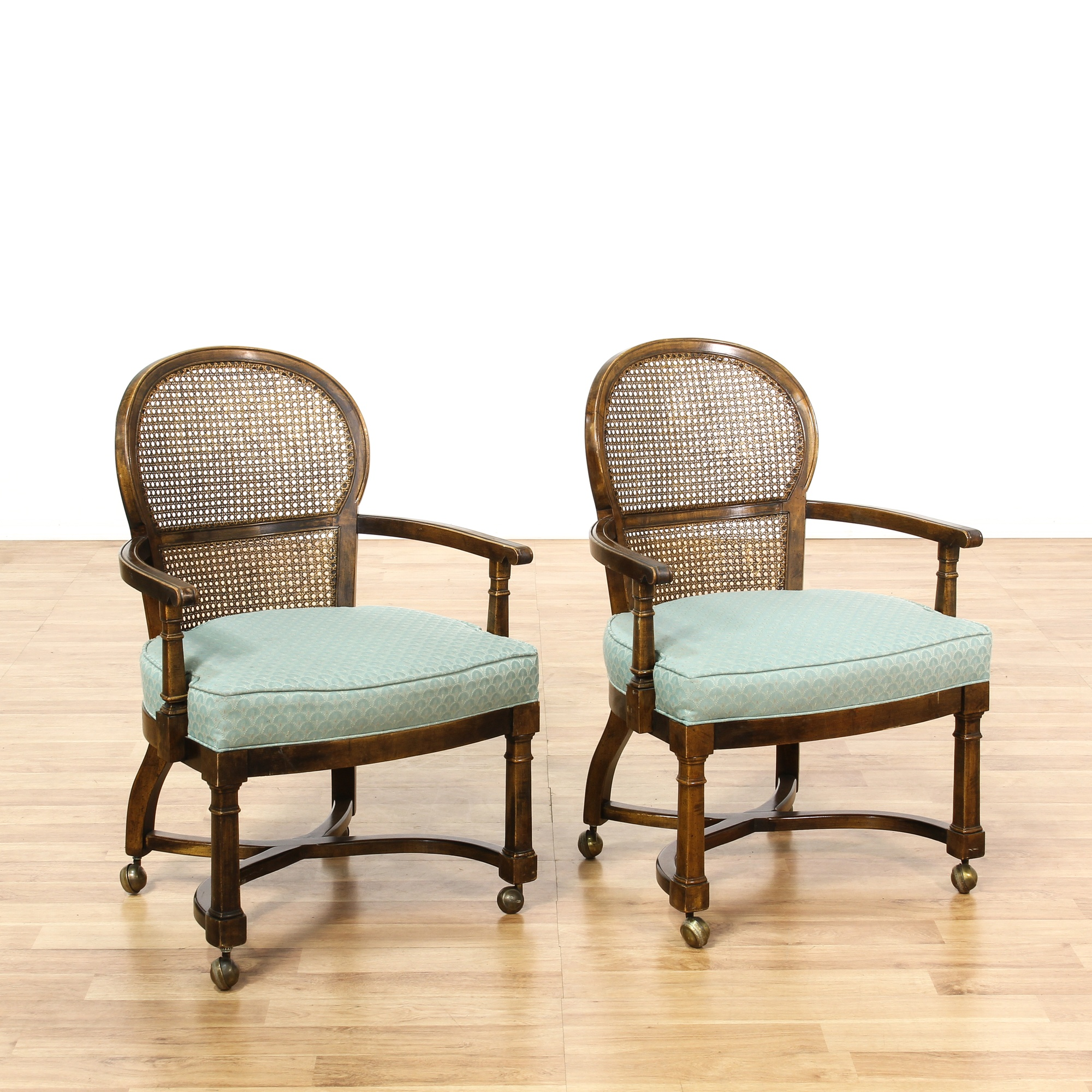 Set Of 4 Rolling Cane Back Dining Chairs Loveseat
