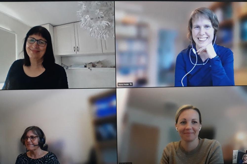 Fyra kvinnor, handläggare i digitalt möte