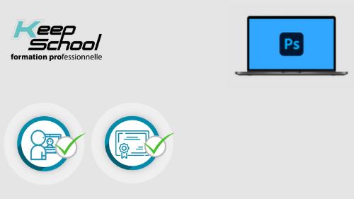 Représentation de la formation : Photoshop préparation TOSA : 100% cours particuliers en visio (40h)