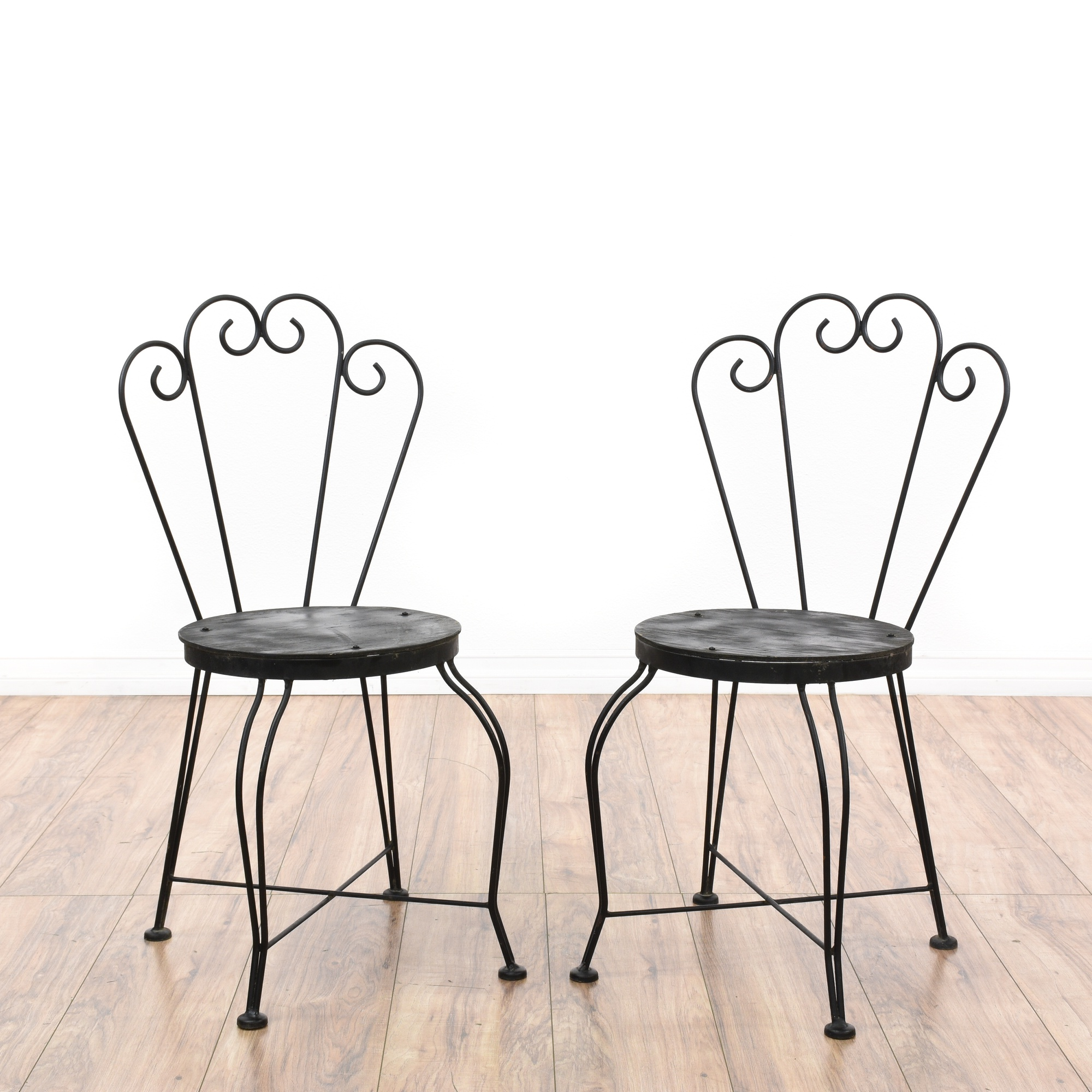 pair of black metal outdoor cafe chairs loveseat vintage furniture san diego los angeles. Black Bedroom Furniture Sets. Home Design Ideas