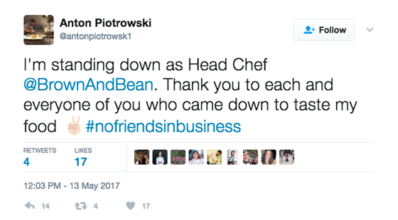 Anton Piotrowski resigns from Brown and Bean