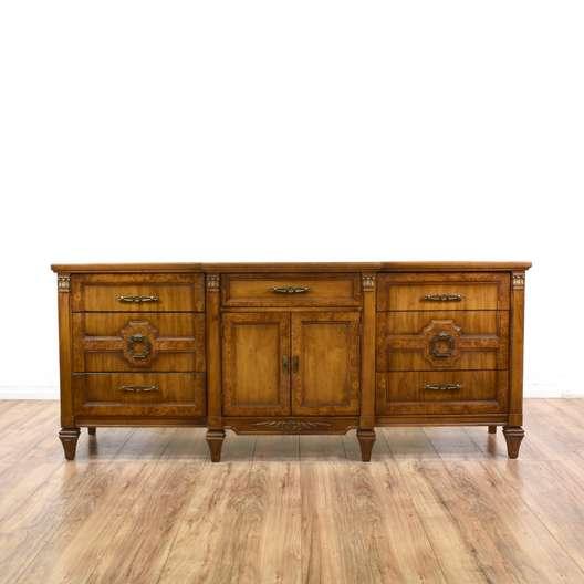 Long Carved Burl Wood 9 Drawer Dresser