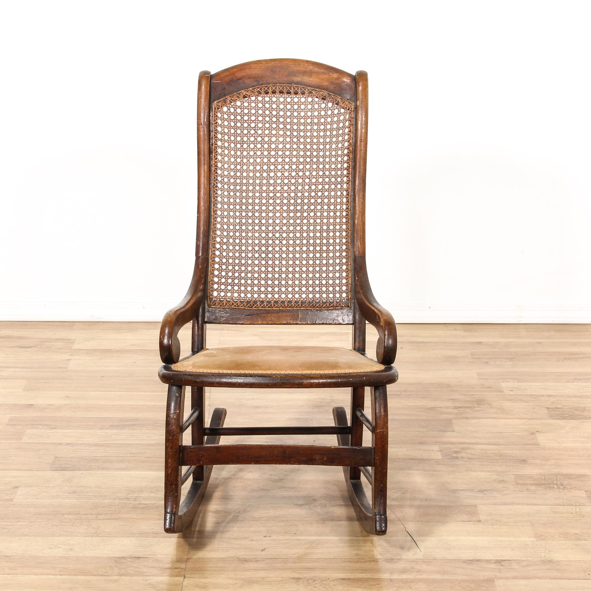 Cane back rocking chair loveseat vintage furniture san