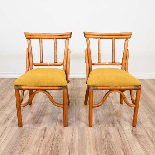 Pair of Tropical Bamboo Accent Chairs