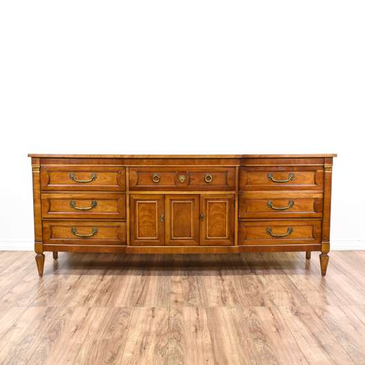 """Long Carved Neoclassical """"Thomasville"""" Dresser"""