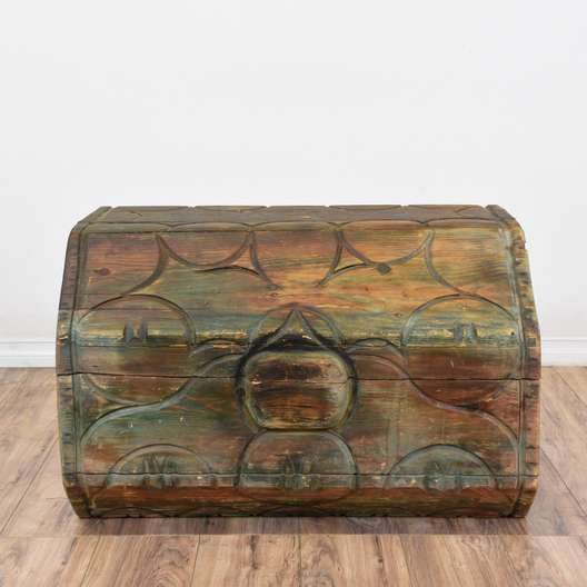 Rustic Large Octagonal Carved Wood Trunk
