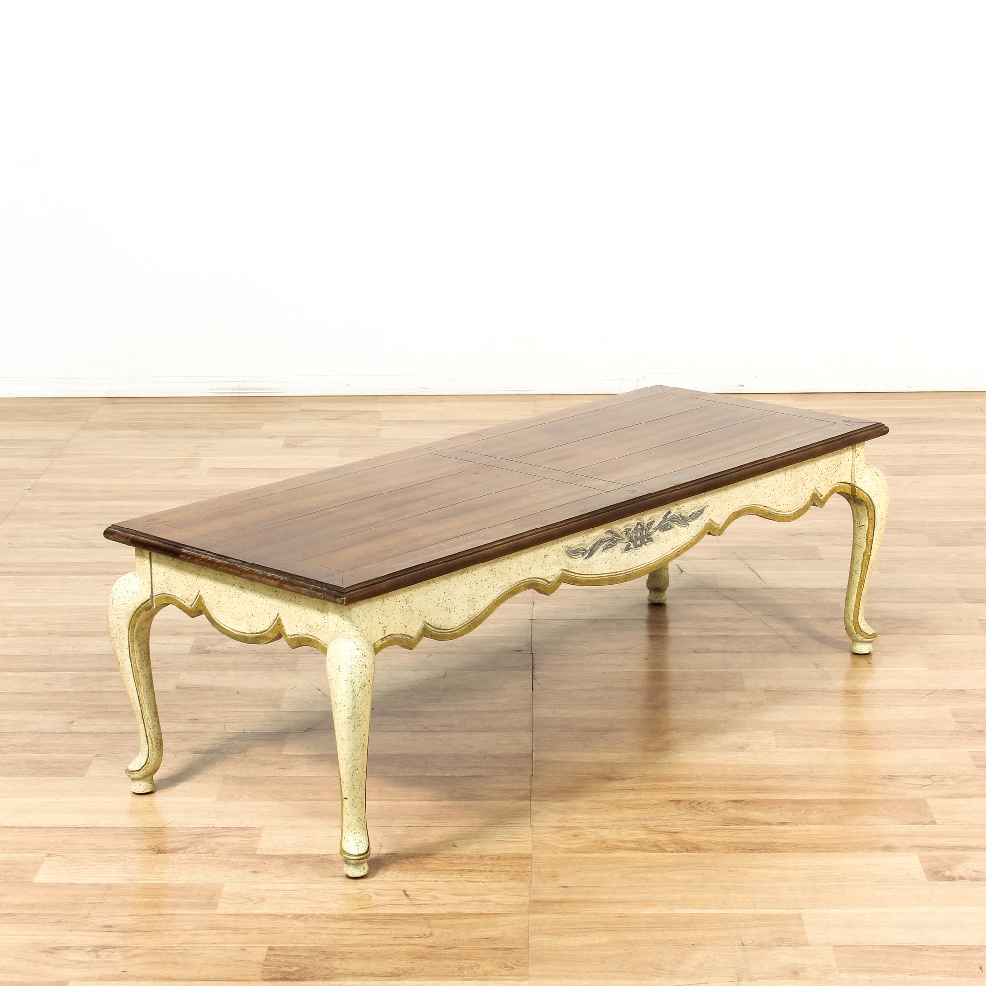 French Provincial Cream & Gold Wood Coffee Table