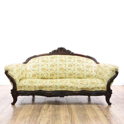 Traditional Wood Frame Antique Floral Carved Sofa ...
