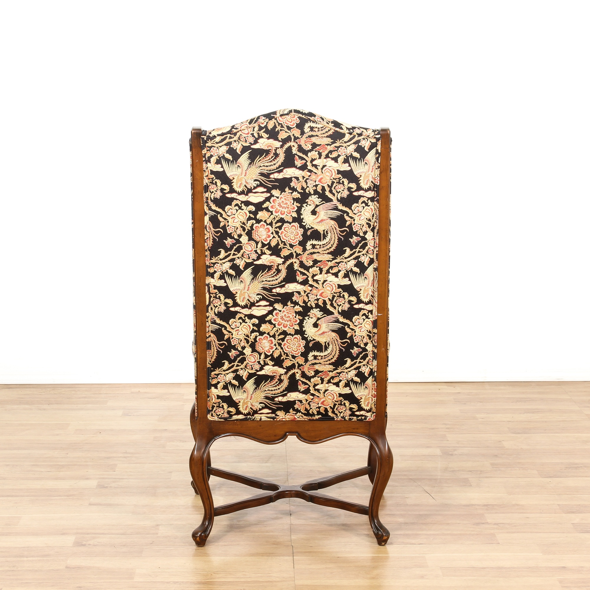 Tall Walnut Floral Wingback Accent Chair Loveseat
