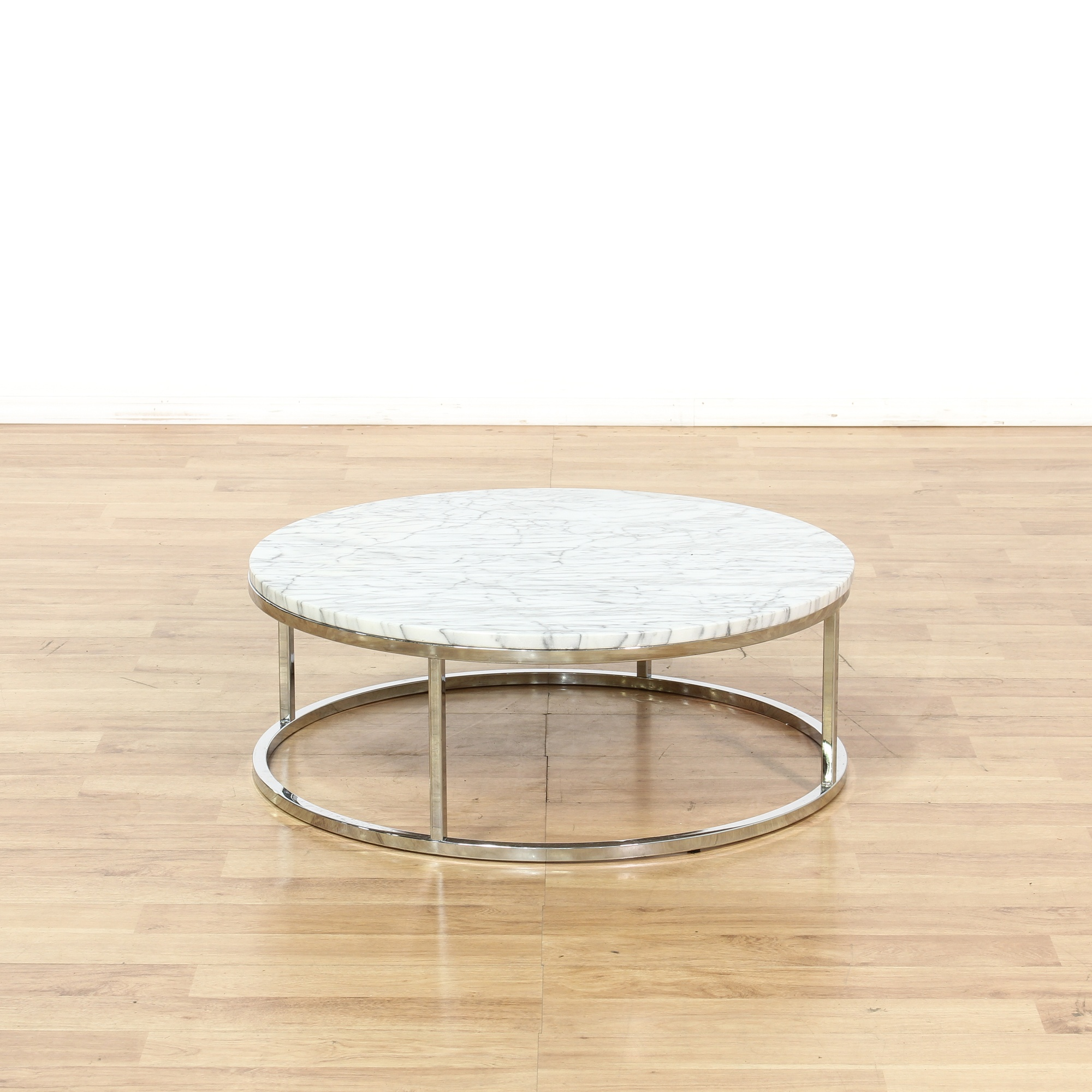 Chrome & Marble Round Coffee Table