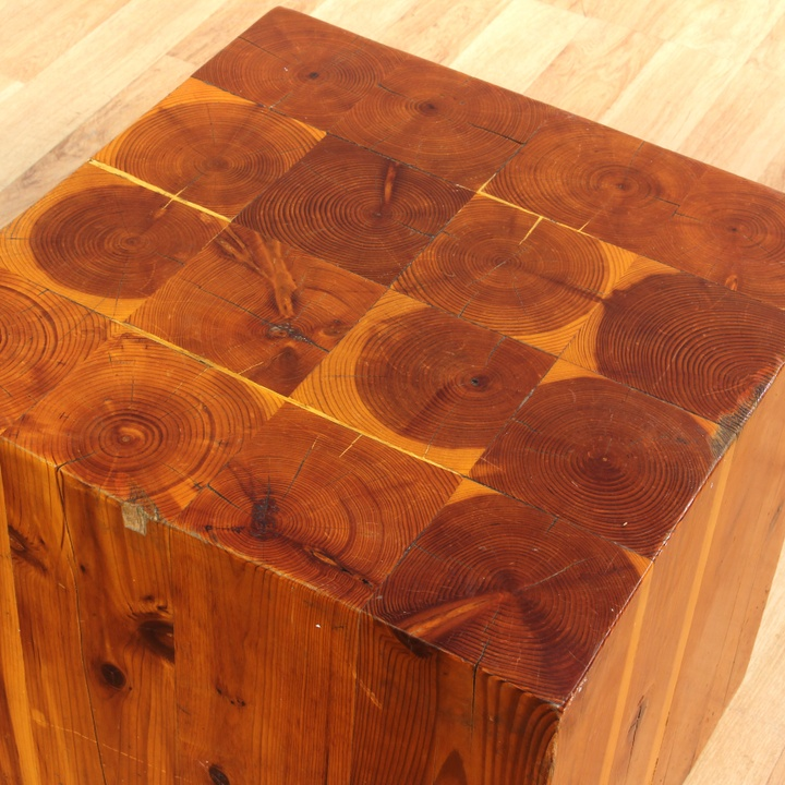Rustic wood block pedestal cube ottoman end table