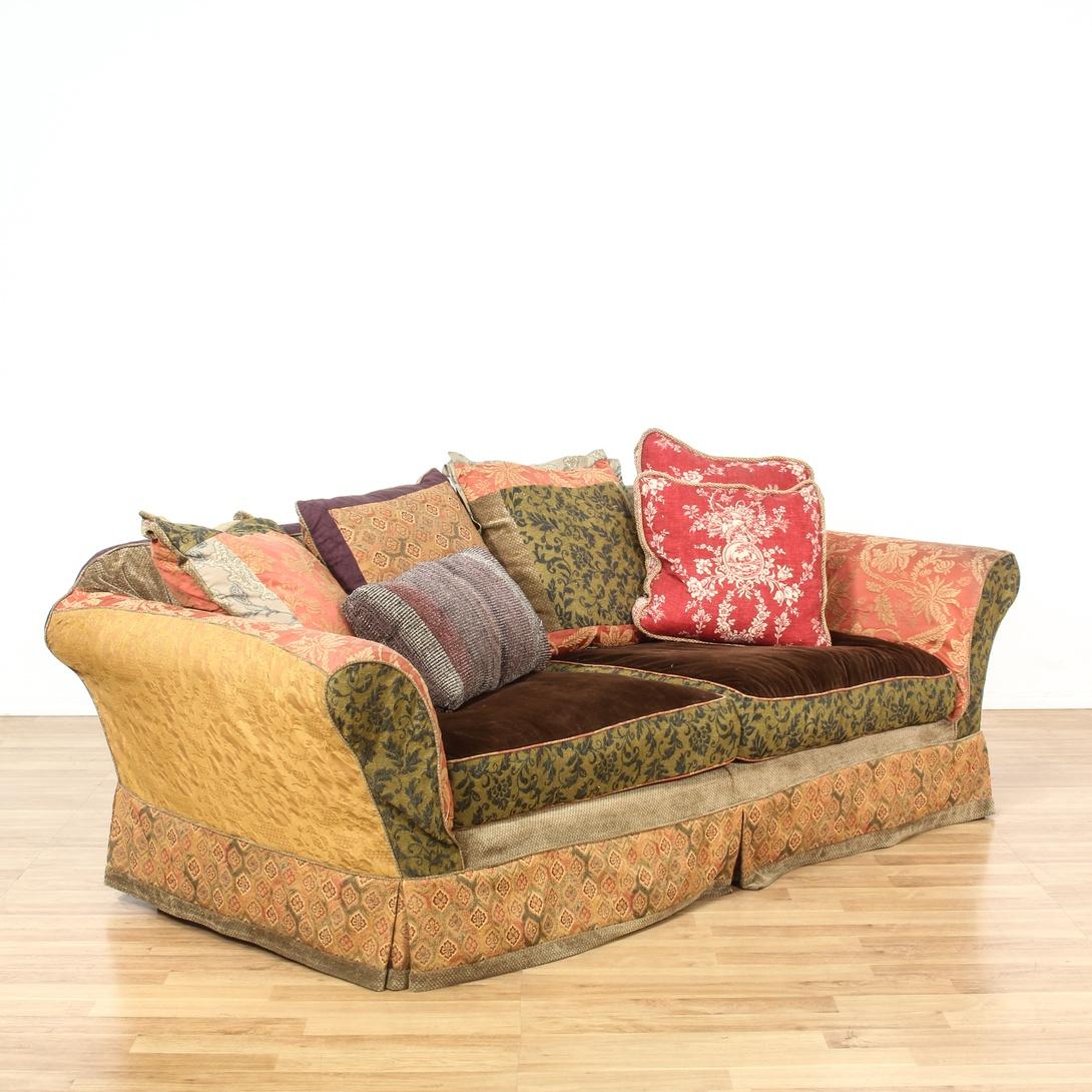Bohemian Slipcovered Multicolored Sofa Loveseat Vintage