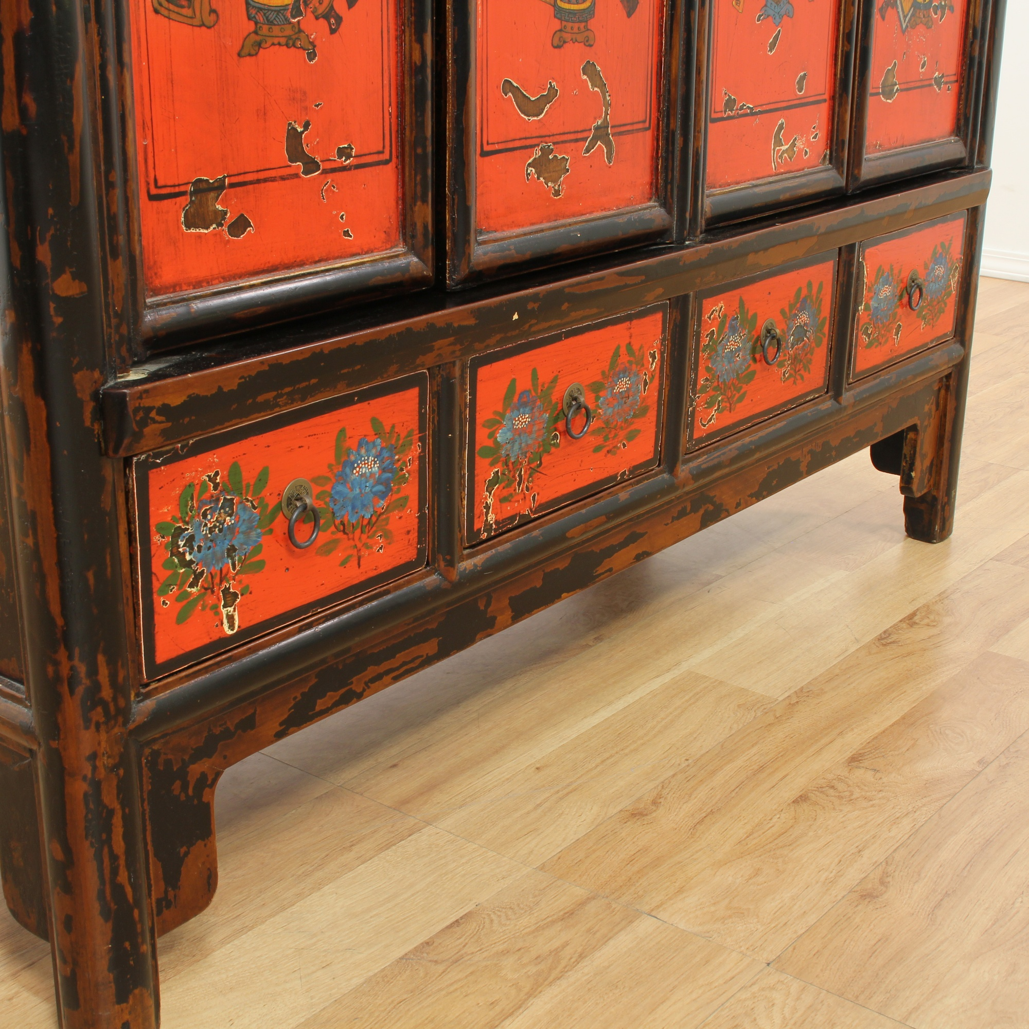 Chinese red and lacquer painted armoire loveseat vintage for Oriental furniture los angeles