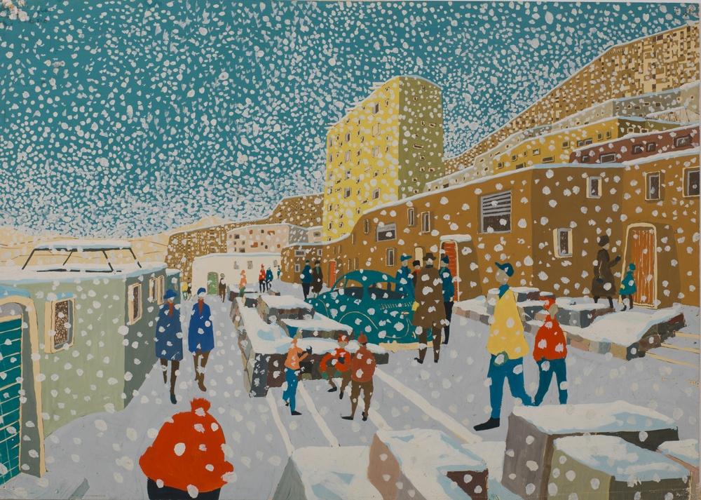 Ralph Erskine, arkitekt Lars Harald Westman, Illustratör Arctic Town, 1958 Gouache på papper ArkDes samlingar