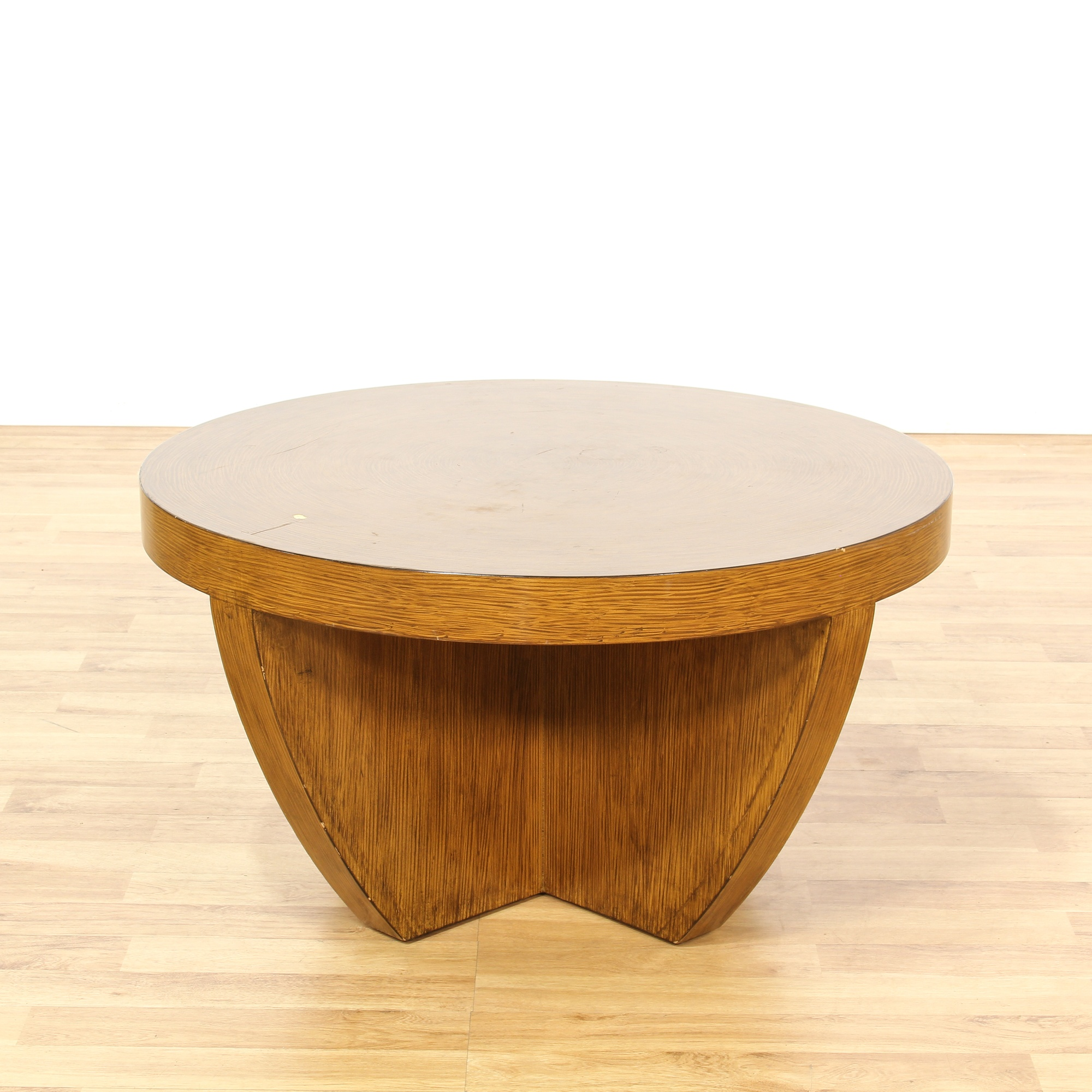 Modern Round Wooden Coffee Table 110: Contemporary Round Thick Wood Coffee Table