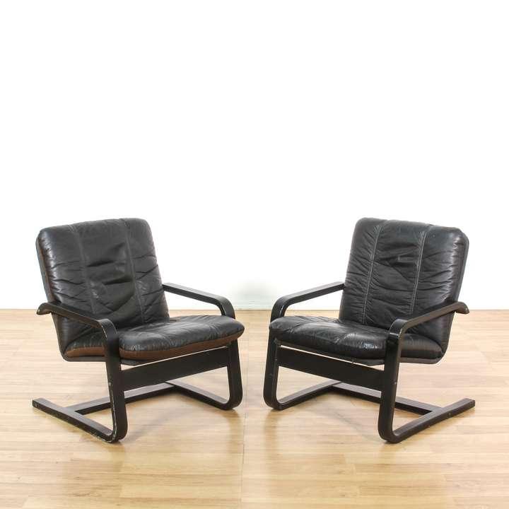 Pair Of Retro Burnt Orange Amp Chrome Accent Chairs