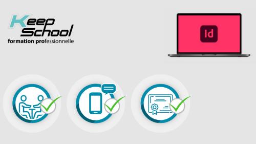 Représentation de la formation : InDesign préparation TOSA : 100% cours particuliers à domicile (20h) + e-learning
