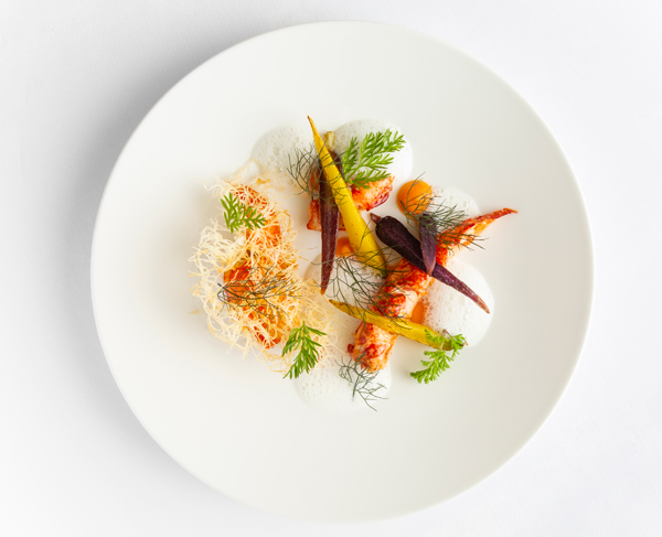 Charcoal-flamed native lobster, baby carrot, bronze fennel and buttermilk sauce