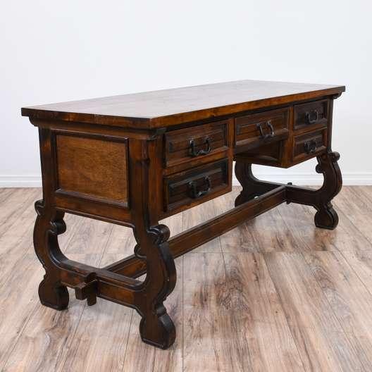 Rustic Carved Cherry Trestle Base Desk