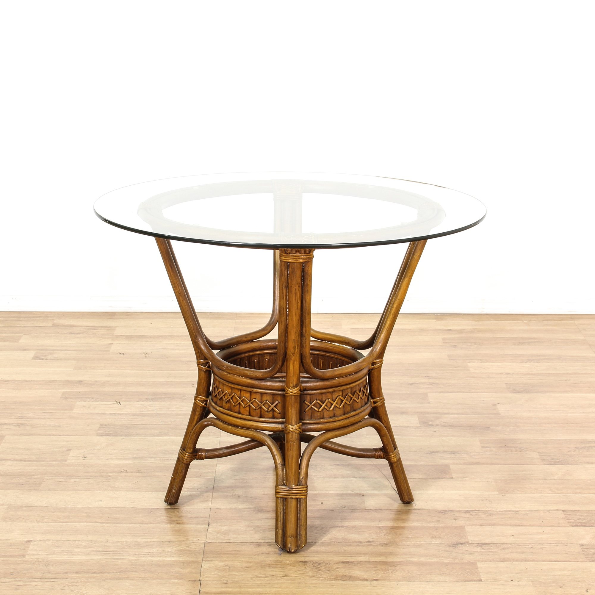 Tropical Rattan Glass Top Dining Table Loveseat Vintage
