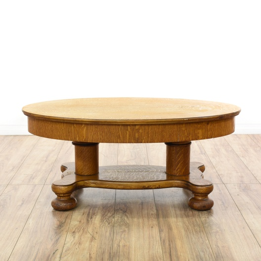Oval carved tiger oak coffee table loveseat vintage for Oval farmhouse coffee table