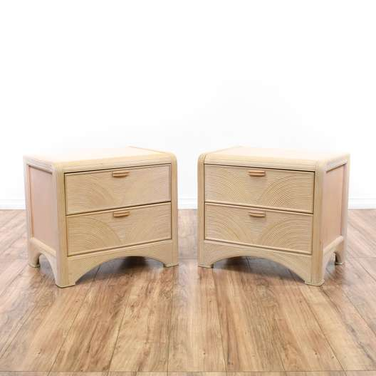 Pair of Retro 80's Style Whitewashed Nightstands