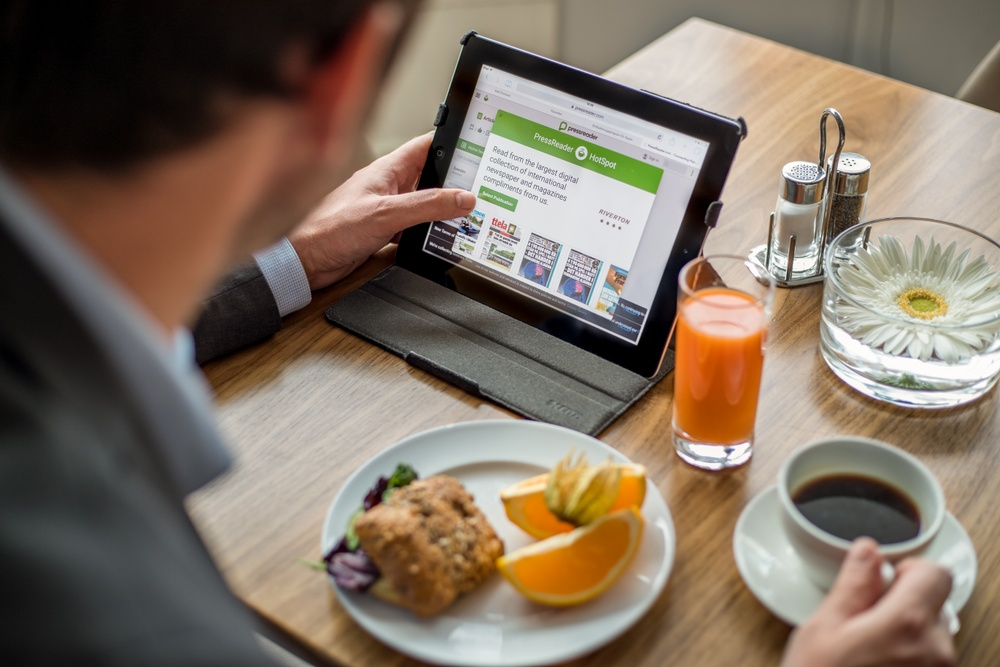 Hotel Riverton i Göteborg erbjuder tjänsten PressReader till alla gäster