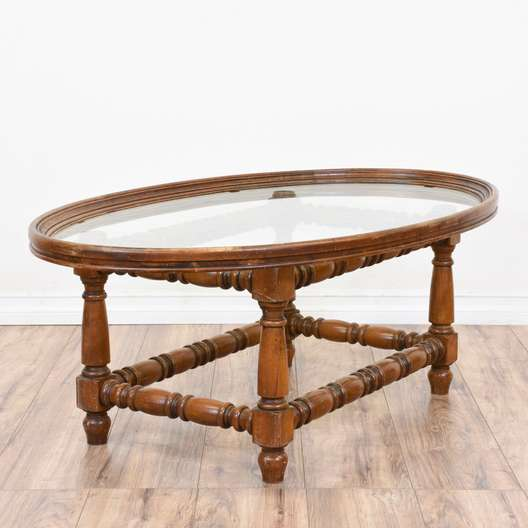 Carved Oval Glass Top Coffee Table