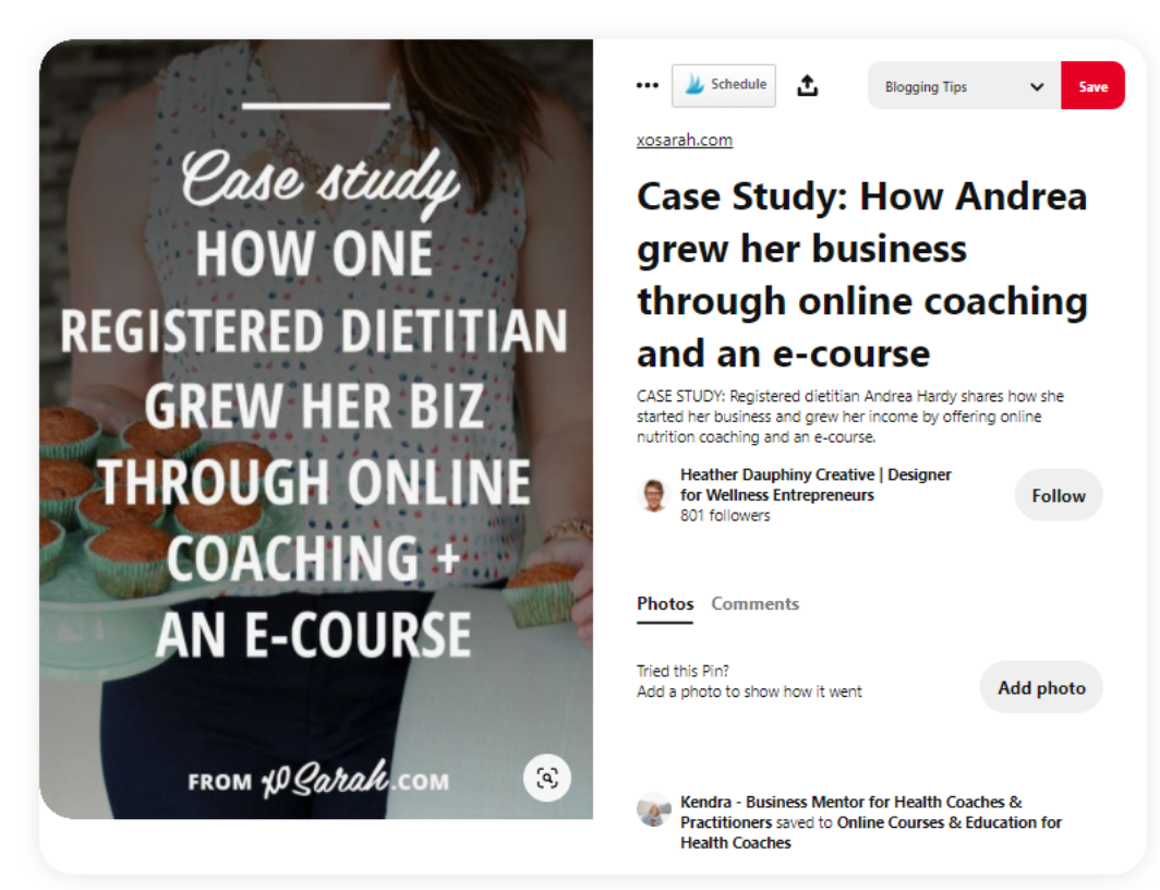 pinterest pin with a case study