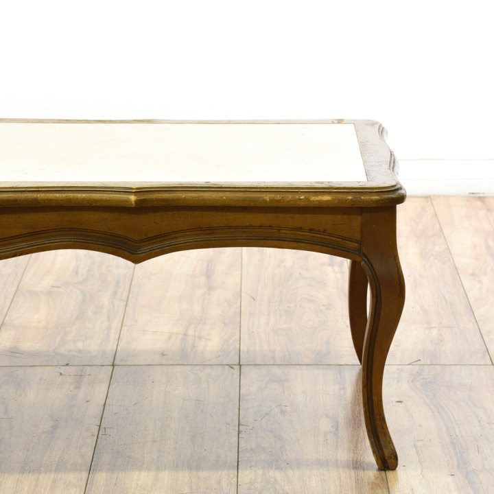 "Vintage French Provincial Coffee Table: ""Mersman"" Marble French Provincial Coffee Table"