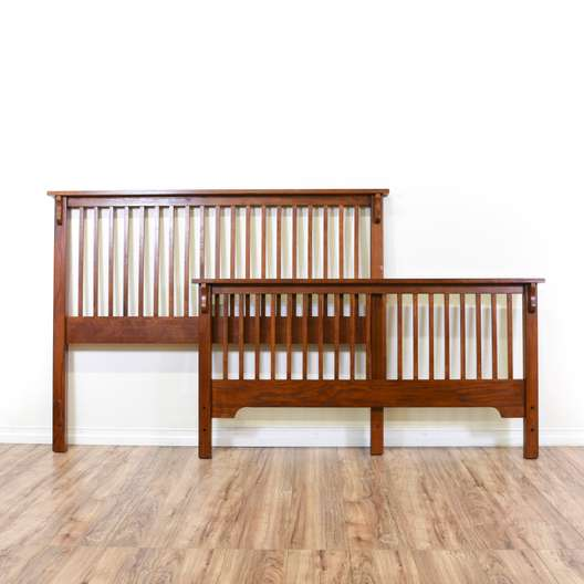 Mission Style Wood Slat Queen Sized Bedframe