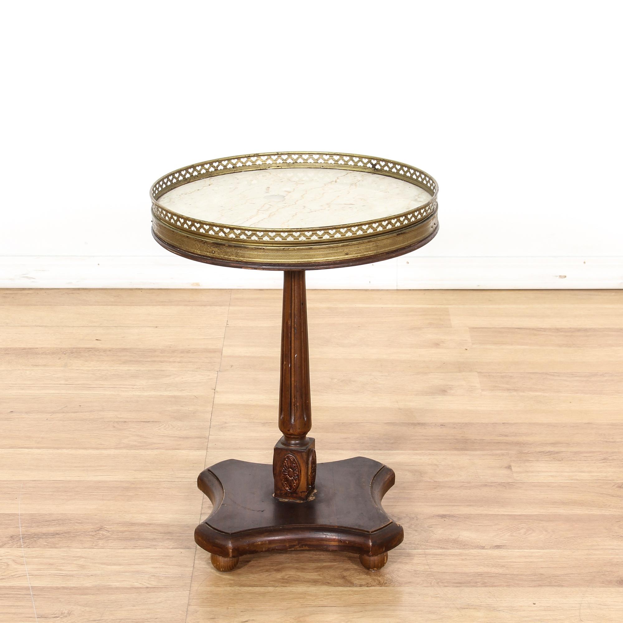 round brass marble top pedestal end table loveseat vintage furniture san diego los angeles. Black Bedroom Furniture Sets. Home Design Ideas