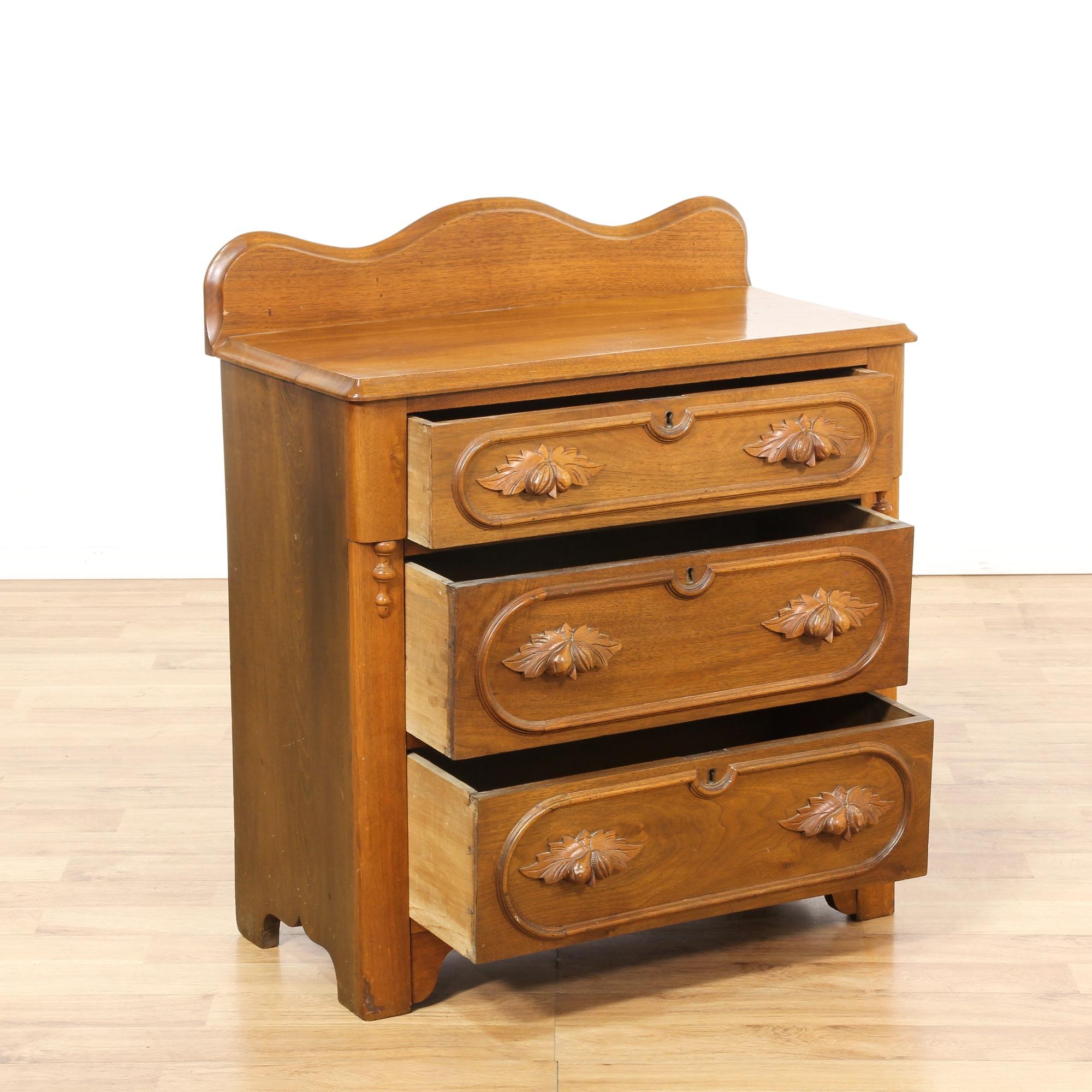 Eastlake carved cherry chest of drawers loveseat vintage for Eastlake storage