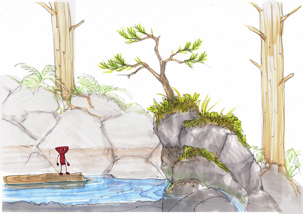 ENG:  Concept sketch for 'Unravel' titled 'Berry Mire Water Puzzle' by Dick Adolfsson. © 2014 Coldwood Interactive. Unravel™ © 2016 Electronic Arts SV:  Konceptskiss för Unravel med titeln