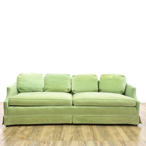 Quottomlinsonquot mint green velvet sofa loveseat vintage for Mint green sectional sofa