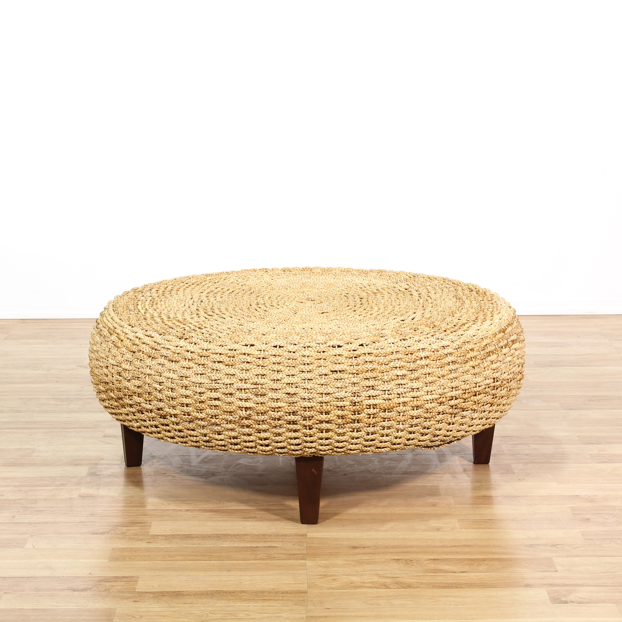 Large Rope Woven Ottoman Coffee Table Loveseat Vintage Furniture San Diego Los Angeles