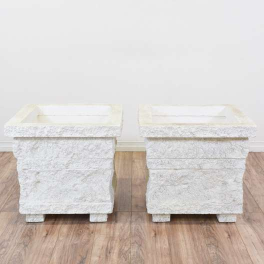 Pair of White Stucco Planter Boxes