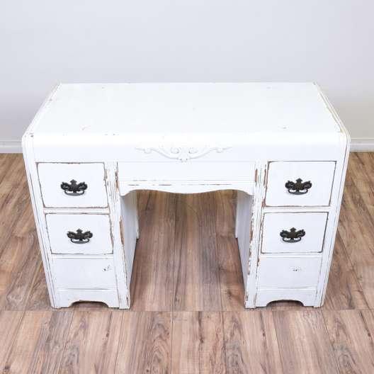 White Shabby Chic Waterfall Desk Vanity