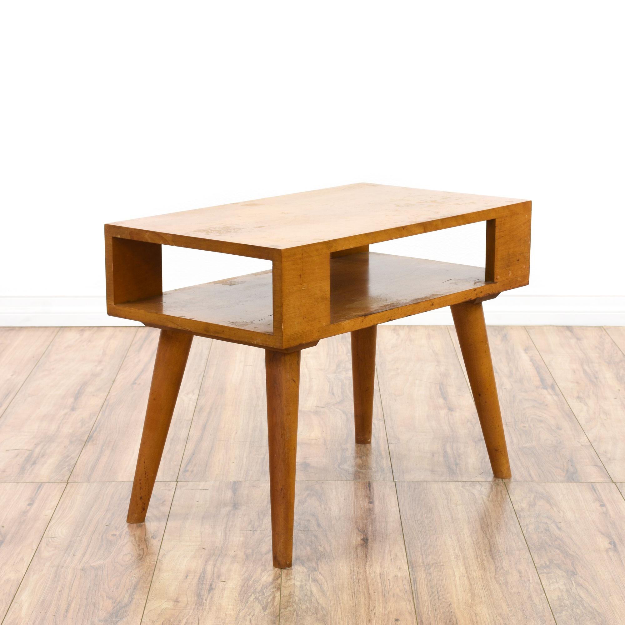 Mid century modern light wood end table loveseat vintage for Light wood side table