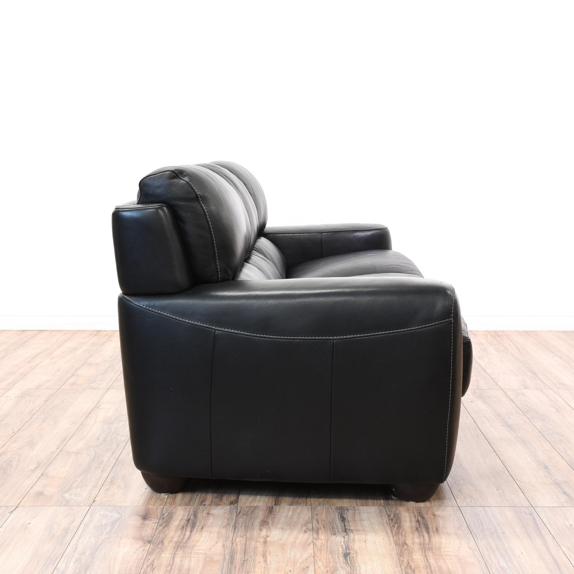 """Leather Sofas In Los Angeles: Black Leather """"Sofitalia"""" Cushion Sofa"""