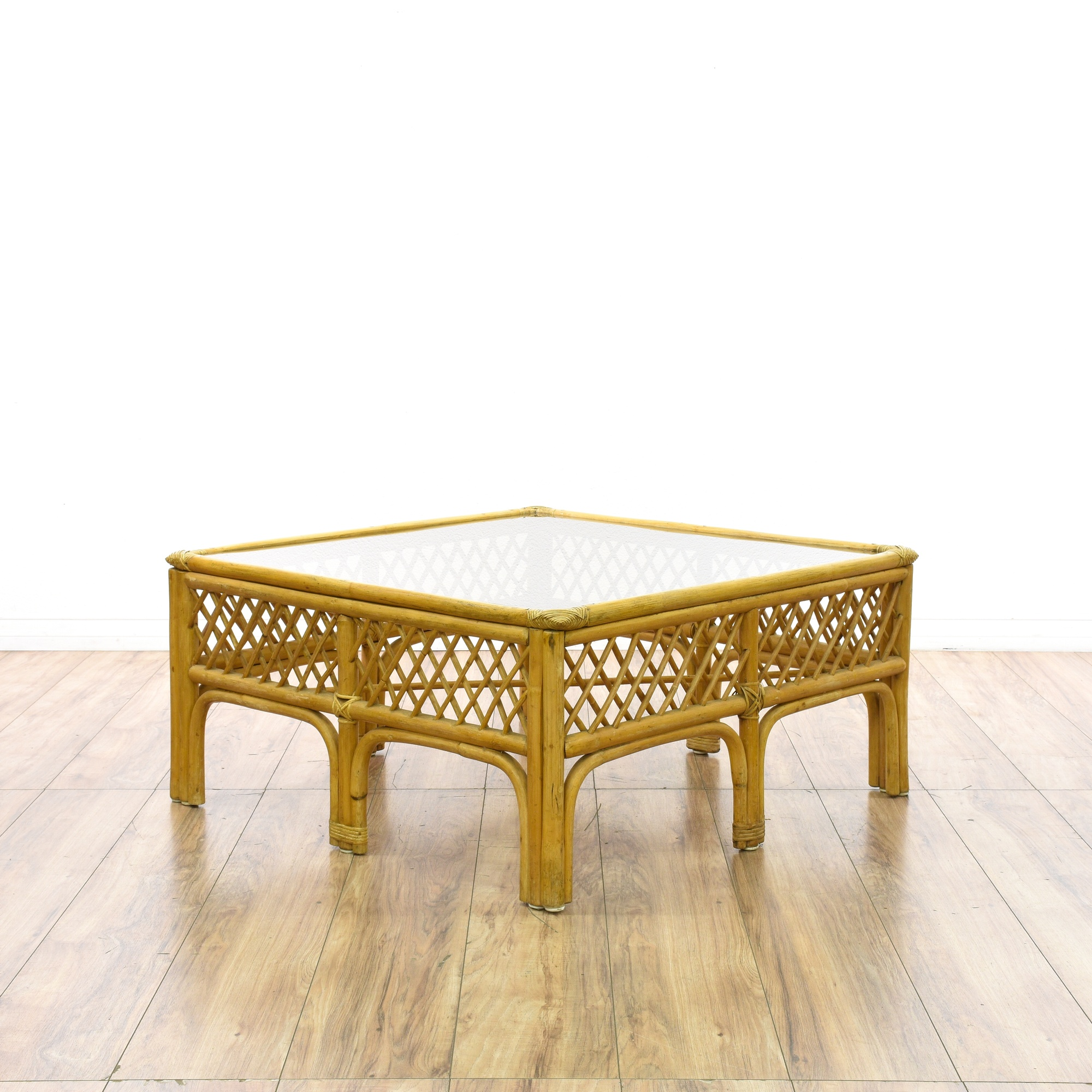 Gl Top Square Rattan Coffee Table Loveseat Vintage