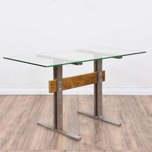 Industrial Modern Glass Top Side Table