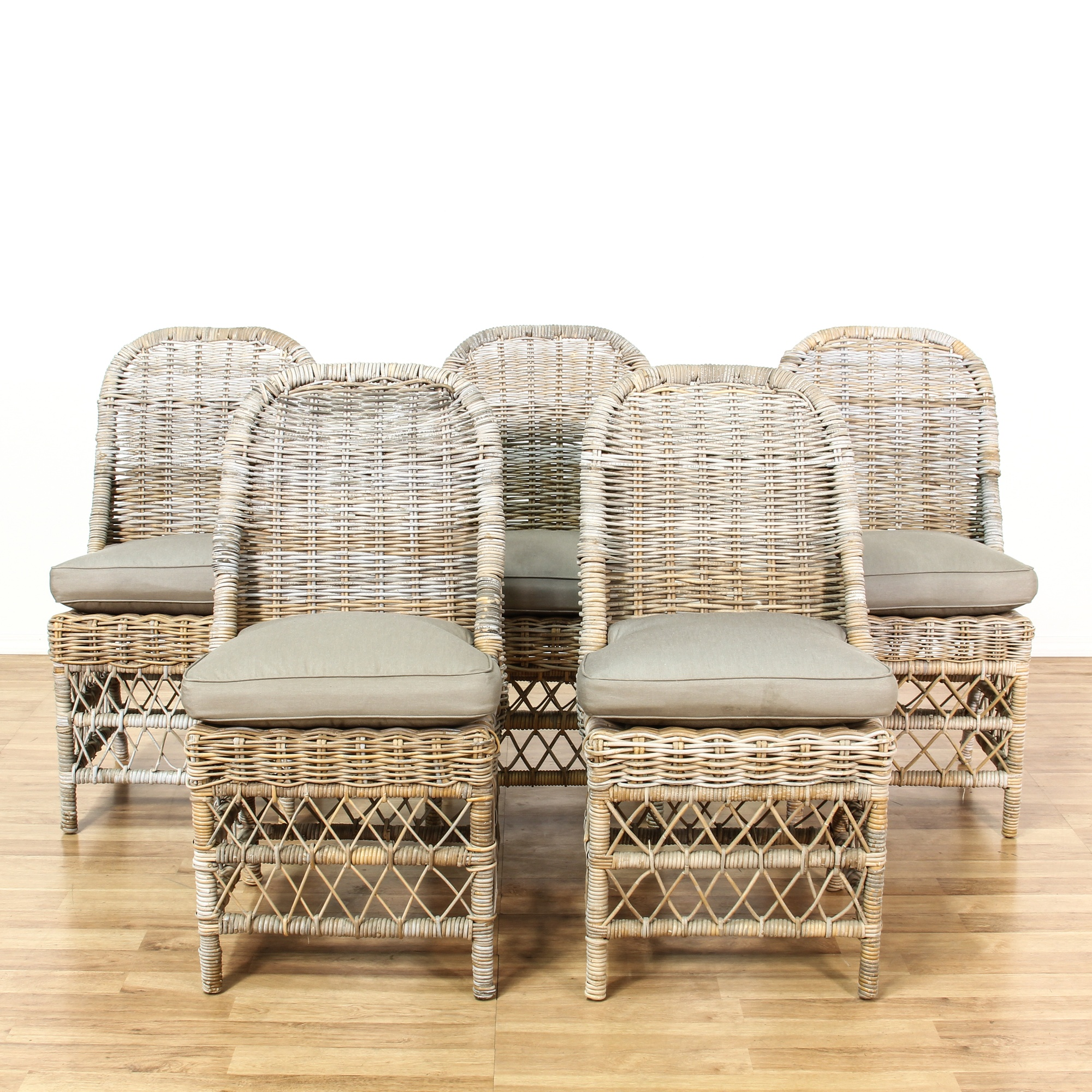Set Of 5 Driftwood Wicker Outdoor Patio Chairs Loveseat
