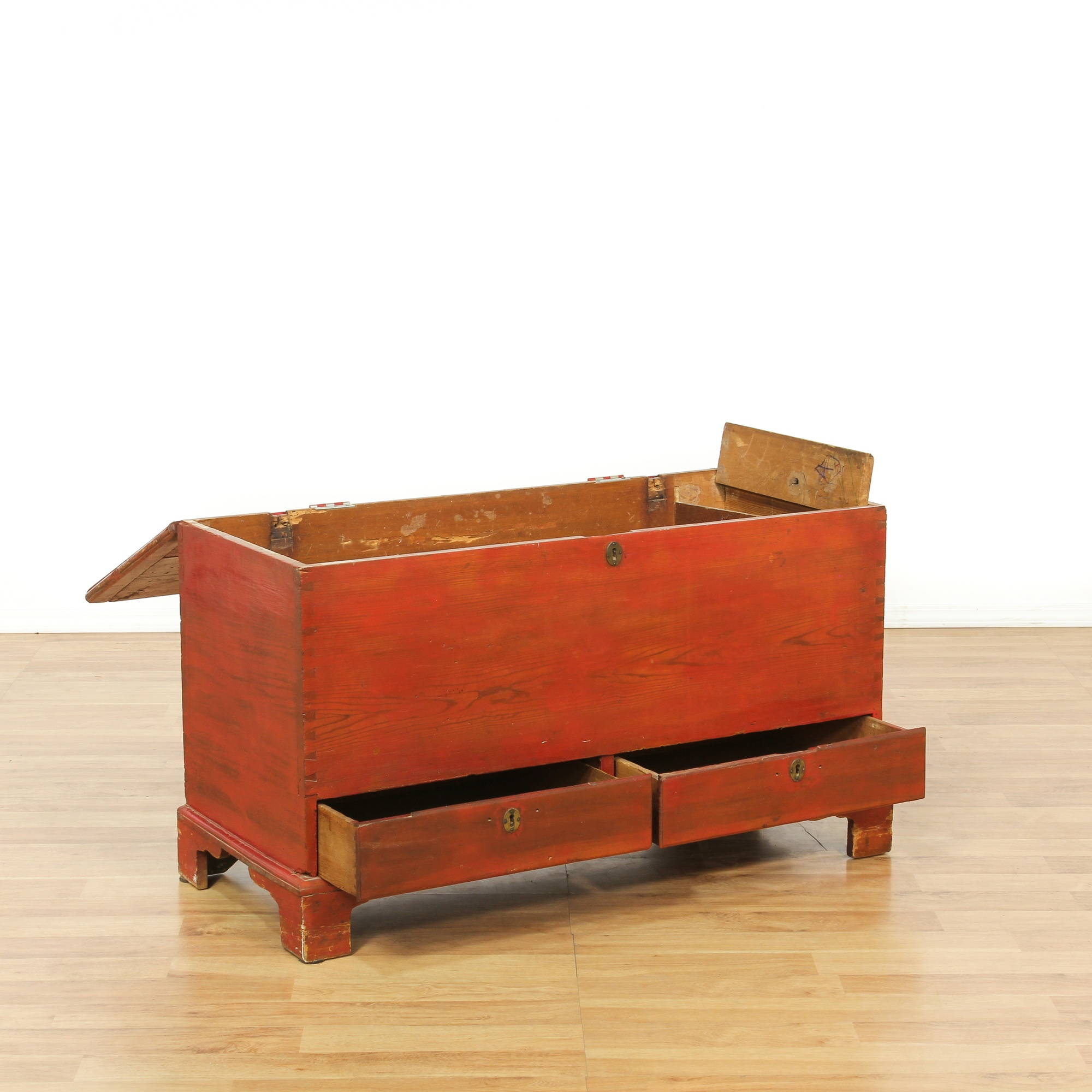 rustic antique red painted sugar chest loveseat vintage furniture