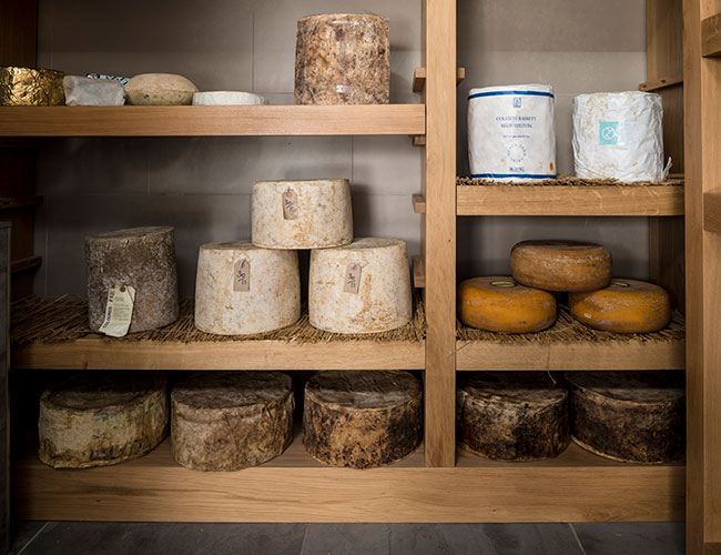 The walk-in cheese room at Moor Hall