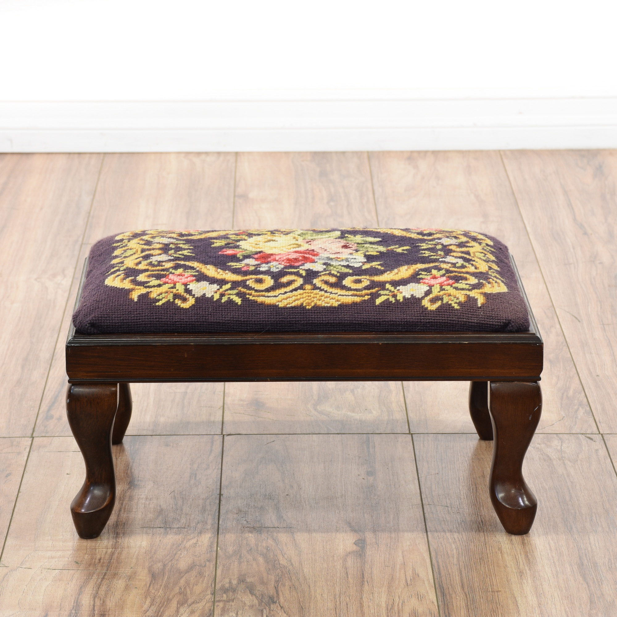 Bombay Embroidered Floral Needlepoint Footstool