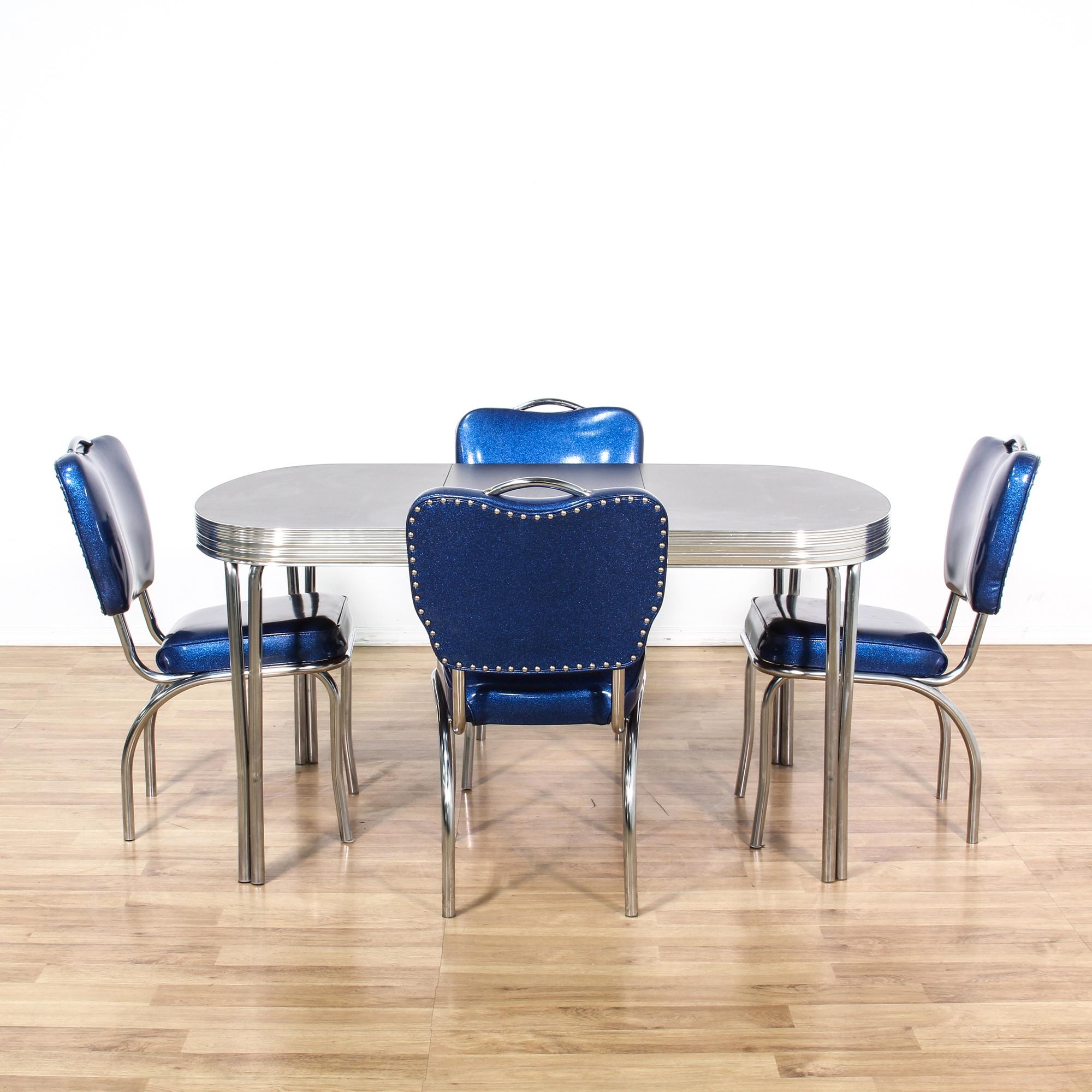 Chrome Kitchen Chairs: Retro Chrome Dinette Set W/ 4 Blue Vinyl Chairs