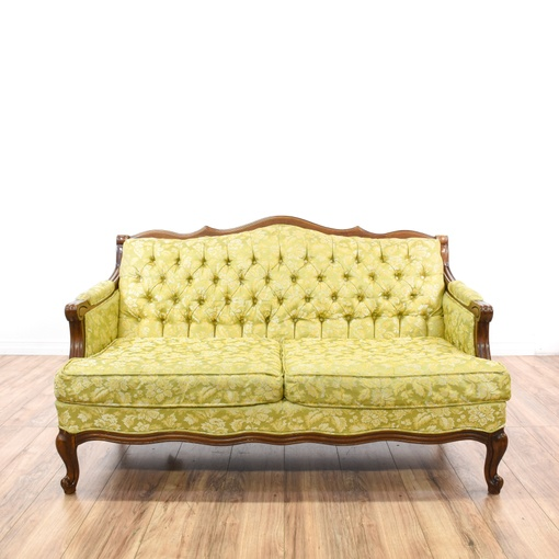 Yellow Green Floral Tufted Loveseat Sofa Loveseat