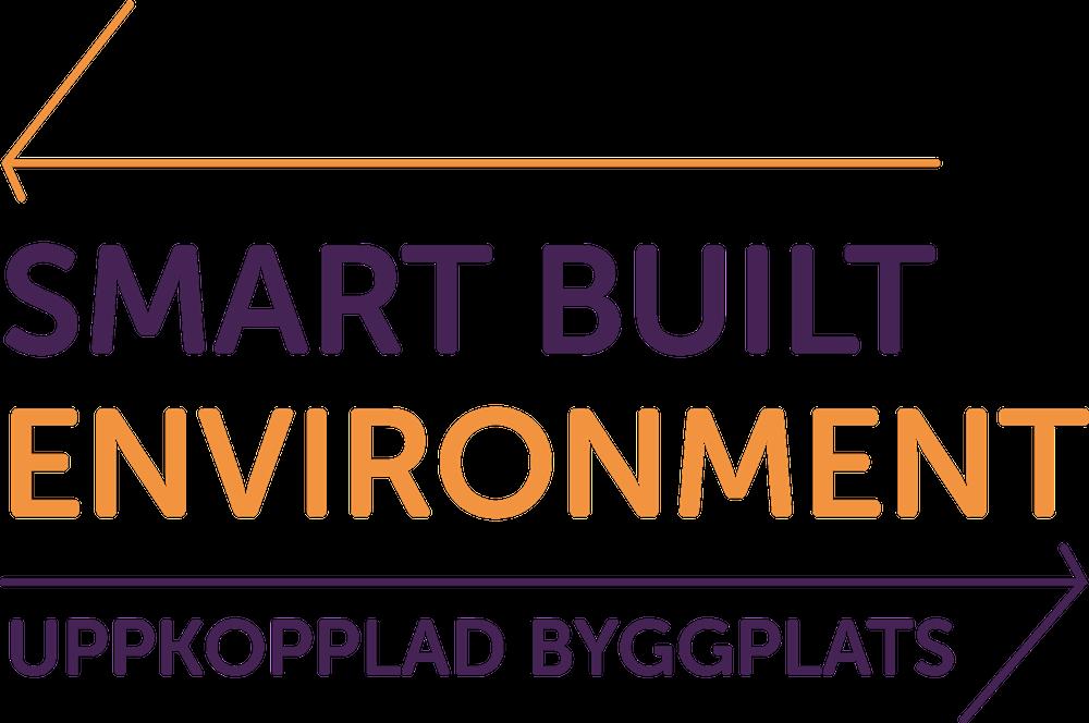 Loggotype med texten Smart Built Environment - Uppkopplad byggplats
