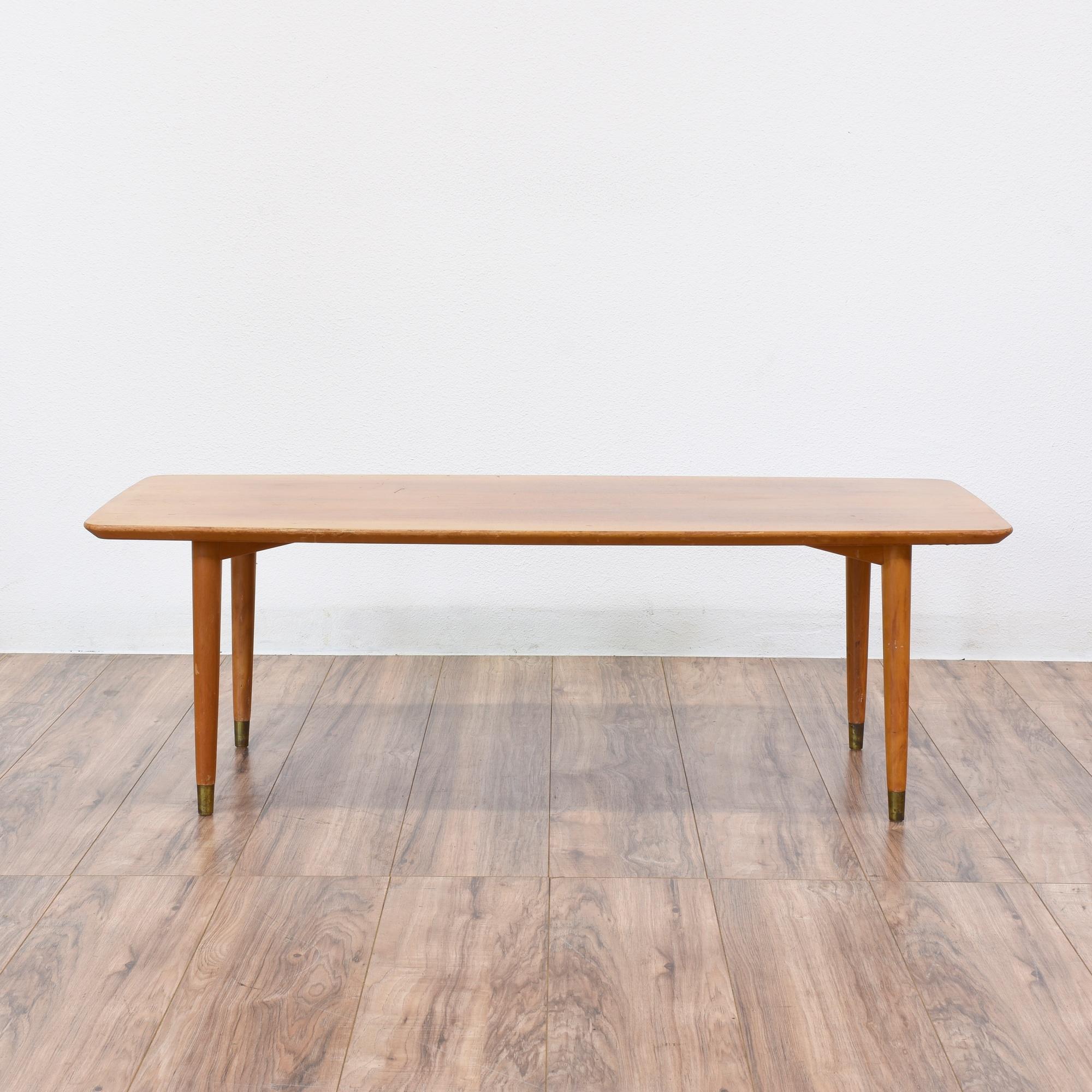 Light Wood Mid Century Modern Coffee Table | Loveseat Vintage Furniture San Diego & Los Angeles